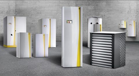 Image shows a heat pump range, with different models varying in size.